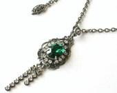 Emerald Swarovski Necklace Swarovski Crystal Necklace Silver Necklace Swarovski Pendant  Victorian Necklace Swarovski Gothic jewelry