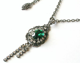 Emerald Swarovski Necklace Swarovski Crystal Necklace Silver Necklace Swarovski Pendant  Victorian Necklace Swarovski Gothic jewelry