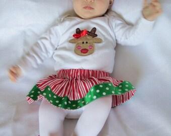 baby girl Christmas reindeer bodysuit and peppermint stripe skirt