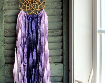 bohemian dream catcher - vegan - purple ombre - wingedwhimsy dreamcatcher - nursery decor - wedding