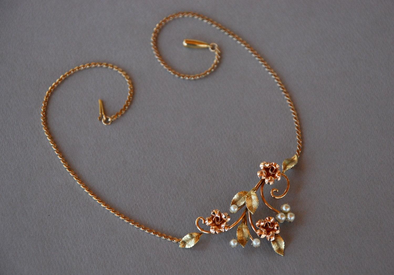 vintage krementz necklace two tone yellow gold faux