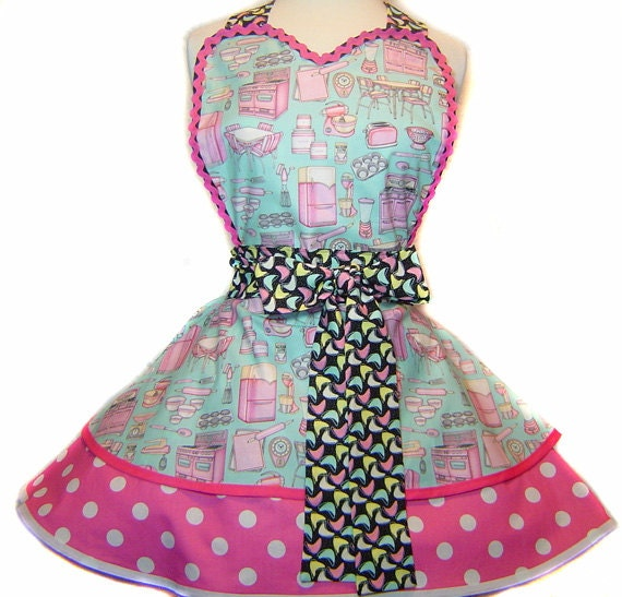 Retro Kitchen Aprons: Kitschy Kitchen Retro Pinup/Diner Apron-Only From Tie Me Up