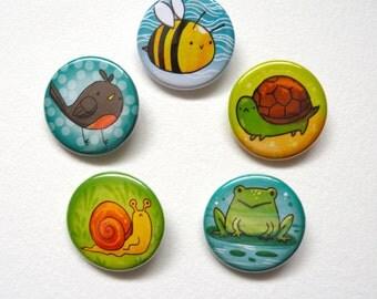 little garden friends pinback button set: bee, frog, robbin, turtle, snail