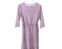 Women Spring Dress Boho Chic Dress Women Pink Dress Day Dress Casual Dress Tie Waist Dress 70s Dress Knee Length Dress Retro Dress Polyester