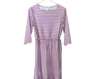 Pink Dress Women Spring Dress Retro Dress Polyester Dress 70s Dress 1970s Dress Women Day Dress Casual Dress Tie Waist Dress Knee Length