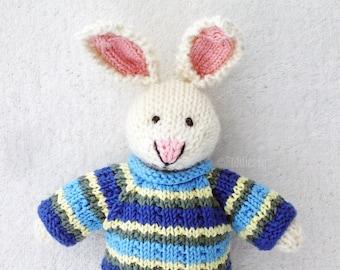 Hand Knitted Toy - Stuffed Animal - Hand Knit Rabbit - Hand Knit Soft Toy - Waldorf Toy - Knit Bunny - Knit Stuffed Animal - Kids Toy - ADAM