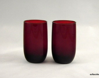 Anchor Hocking Glass Royal Ruby 8 oz Roly Poly Pattern Flat Tumblers - Vintage 1940s Glassware (pair)