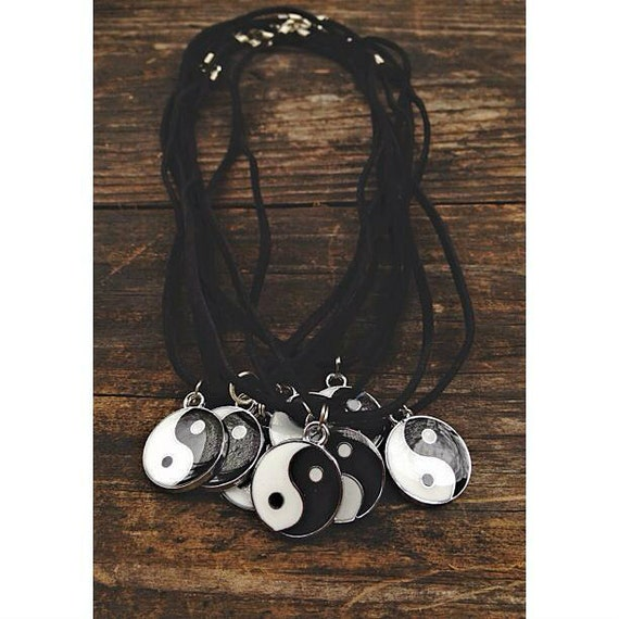 yin yang charm, black leather suede necklace.