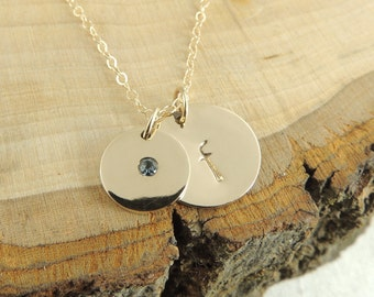 Personalized Necklace Solid 14k Gold,  Birthstone Necklace, Initial Necklace, Alaphbet, Letter, Personalized Initial, Birthstone Necklace