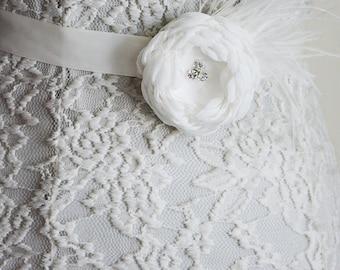 White Bridal Sash Belt, Wedding Flower Belt, Bridesmaid Belt, Ivory Flower, Feather Flower headband, Tie Back, Bridal Headband