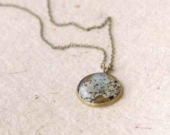 Lichen necklace - botanical handmade jewelry - rustic woodland pendant with lichen