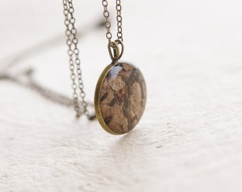 Real bark necklace - brown rustic jewelry -  tree hugger bark pendant