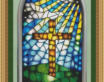 Cross Stitch Pattern Stained Glass Window with Cross Design Instant Download PdF Beautiful Christian Pattern