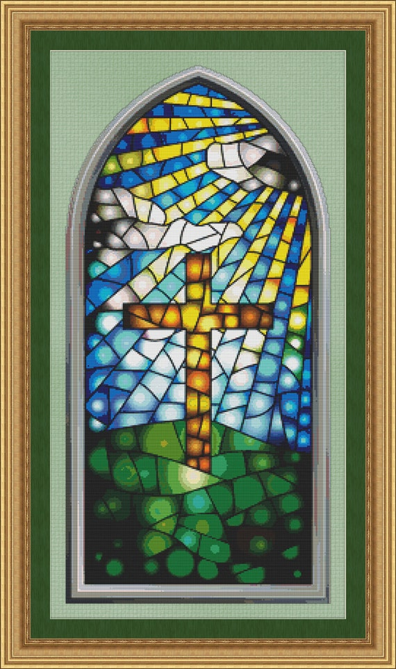 Cross stitch pattern stained glass window with cross design for Make your own stained glass window film