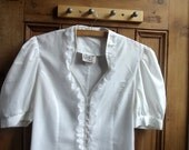 Vintage lace shirt womens clothing ladies blouse UK 12 us 14 office shirts cotton shirt white top feminine tops retro  Dolly Topsy Etsy UK