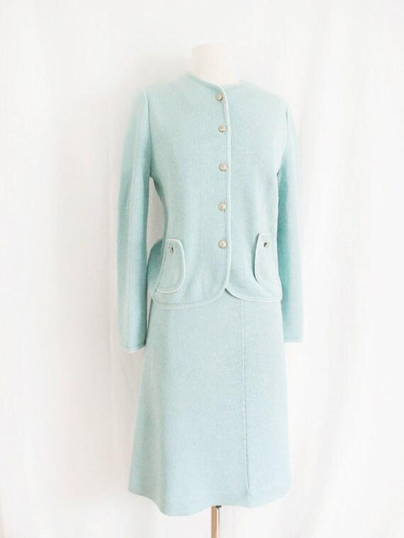 Jackie O Suit - Militarty Button Vintage Aqua Blue  Knit Skirt Suit Set