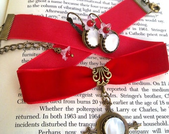 Victorian Gothic White Pearl Earrings Red Coral Earrings Aged Brass Vintage Style Gothic Jewelry