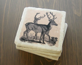 Wildlife coasters- Stone Coasters- Vintage Deer Drawing