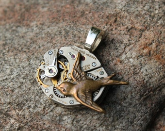 Steampunk Watch Movement Pendant, Recycled Watch Pendant, Steampunk Sparrow Pendant