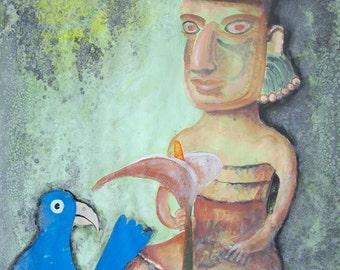"""Flower Goddess Blue Bird abstract art original primitive acrylic on paper modern home office decor 19.5""""x 25.5"""""""