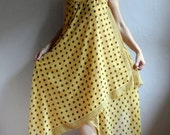 Maxi Dress, Summer Sun Dress in Yellow with Black Dots, Sleeveless Plus Size Dress, Long Dress, Beach Dress