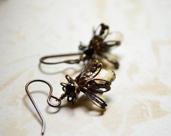 Firefly Earrings with Crystal/ Green Swarovski Crystal beads and Brass Ear Wires, Lightning Bugs