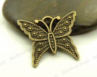 4 Butterfly Pendants (Double Sided) 20x24mm Antique Bronze Tone Metal - Charms, Jewelry Supplies - BA2