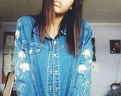 Bob Mackie blouse women vintage 1990s  denim jeans jacket size large
