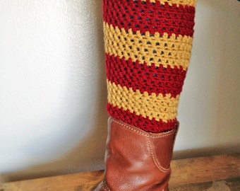 Teen - Adult Leg Warmers - Gold and Maroon Sport Stripe - Acrylic Yarn Blend  - Handcrafted Crochet - Accessory - Ready to Ship
