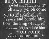 Items similar to O Come All Ye Faithful Chalkboard Christmas Carol Word Art Lyrics Printable ...