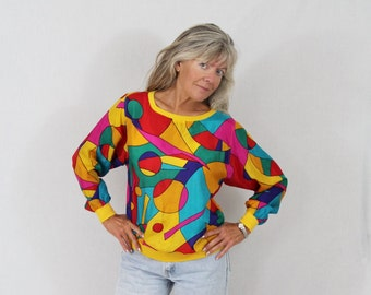 Pop Art Blouse / Mod / Op Art / Geometric / Rainbow / Stained Glass / Adam Douglass