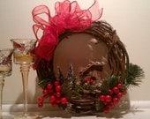 """Snowtop Christmas Birdhouse Wreath 10x10"""""""