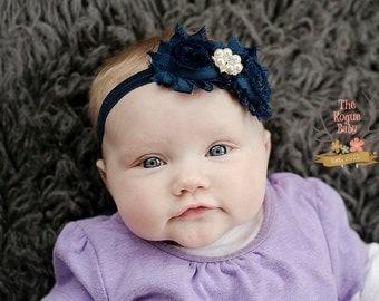 Navy Blue Headband Pearl Rhinestone -  Baby - Flower Girl - Newborn Infant Baby Toddler Girls Adult Wedding