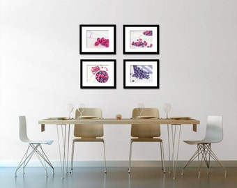 Food Photography - Kitchen Art - Berries - Set of Four (4) Fruit Photos - Fine Art Photography Prints - Kitchen/Dining Room Decor