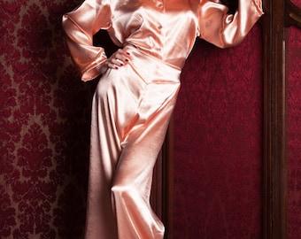 Peach Satin Bettie Pyjama Trousers, Hollywood Glamour, 1940's Style, Perfect For A Pin-Up Girl, Lounging Pyjamas, Nightwear, Loungewear