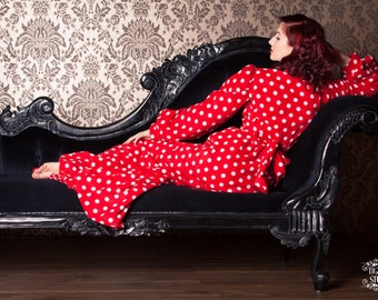 Red and White Polka Dot Fleece Fabric Full Length Robe - Pin Up Girl - Bath Robe - Gown - Dressing gown - Gift For Her - Mothers Day Gift