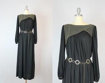 vintage Oscar DE LA RENTA maxi dress / vintage designer caftan / black and gold jersey dress
