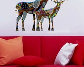 Stylised Reindeers Animals Kids Children Nursery - Vinyl Wall Decal Full Color Sticker Decor Removable Art Mural www.uBerDecals.ca B373