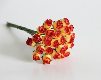 25 pcs - Red & Yellow Mulberry Paper Semiopen Rose buds