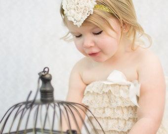 Valentines Day Sparkling Gold  Ivory Shabby Chiffon Heart Glitter Elastic Headband - Newborn Photo Prop - Hair Bow - Christmas Holiday