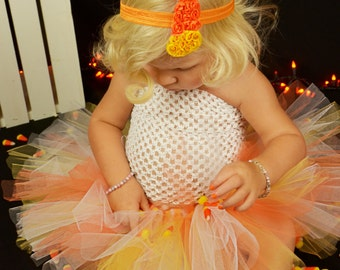 Candy Corn Shaped Orange, Yellow, and White Shabby Flower Rose Headband - Photo Prop - Newborn Baby - Little Girls Hair Bow