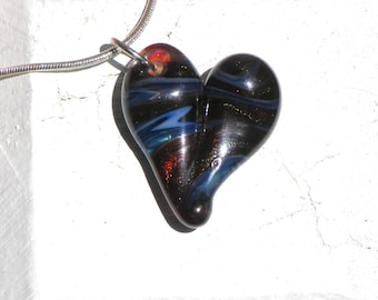 Heart Pendant Glass, Flamework Jewelry Necklace Lampwork Hand Blown Boro SRA Sparkling Red Blue Green White