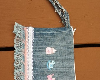 Upcycled Mini Purse - Small Purse - Pocket Pouch - Blue Denim with Mini Baby Appliques (Blue Lace Trim)
