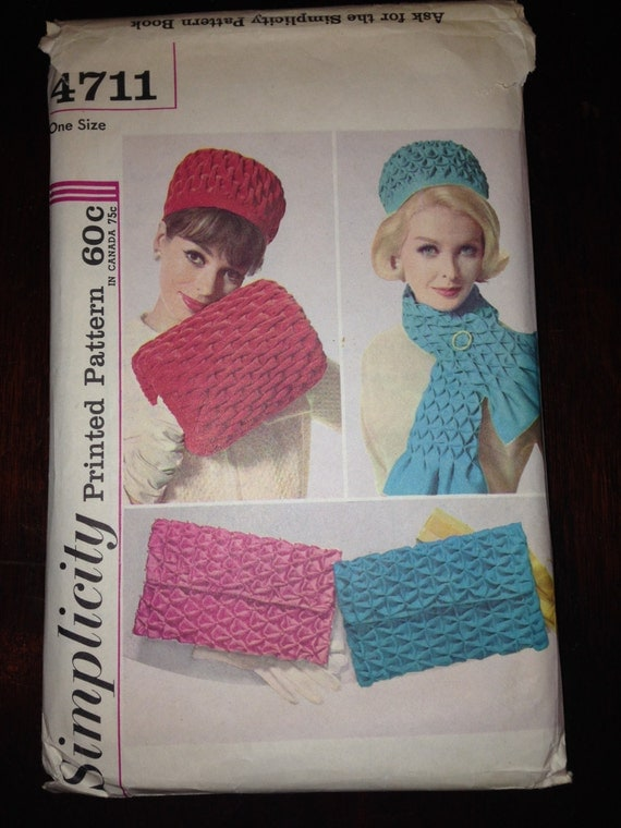 Simplicity Pattern 4711 Misses Smocked Hat, Muff, Bag, and Scarf 1960s