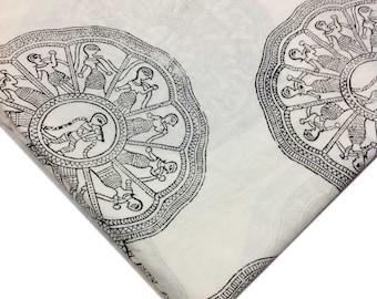 Hand Block Printed Indian Cotton Fabric - Black and White Printed Cotton Fabric by Yard