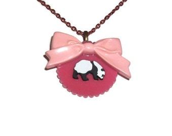 Pink Panda Necklace, Kawaii Pastel Cute Animal Bow Necklace, Kawaii Cute Laser Cut Perspex