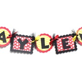 Minnie Mouse Birthday Name Banner// Decorations // Name  Banner // Banners // Red and yellow // Happy Birthday // Minnie Party