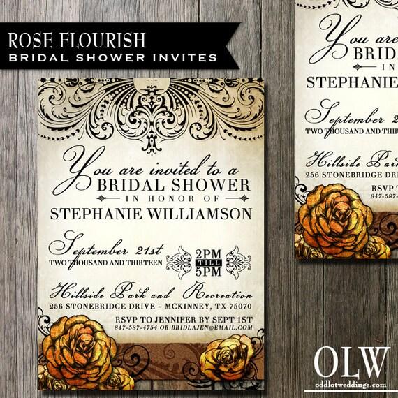 Floral Bridal Shower Invitation Wedding Invitation -  Digital File or Custom Printing - Rustic fancy elements and Flowers