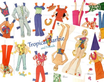 Tropical Barbie Vintage Paper Doll Beach Barbie Hawaiian Barbie Ken Skipper Miko  Printable Digital Download