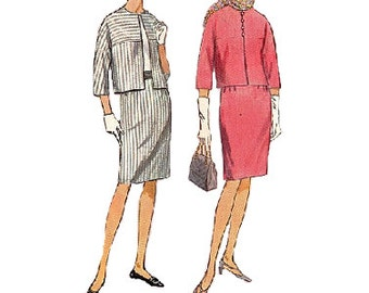Simplicity 6360 Retro Mod Sewing Pattern 1960 Mad Men Style Women's Suit Jackie O Pencil Skirt Cropped Jacket Bust 32